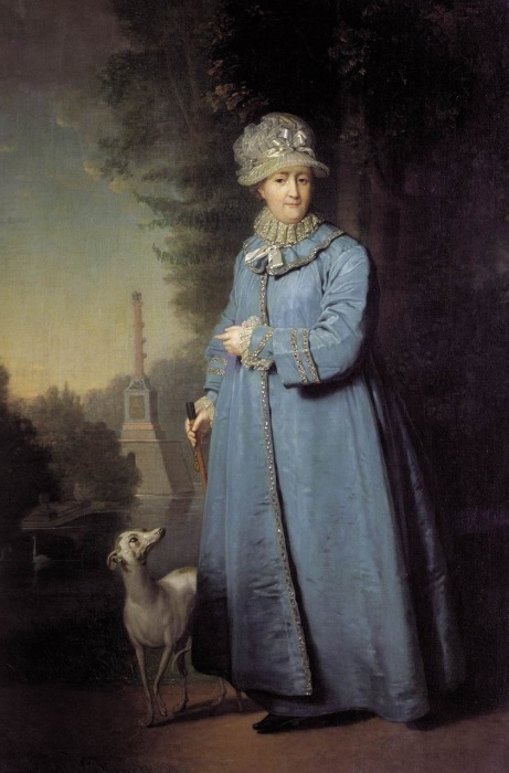 Екатерина II на прогулке в Царскосельском парке.