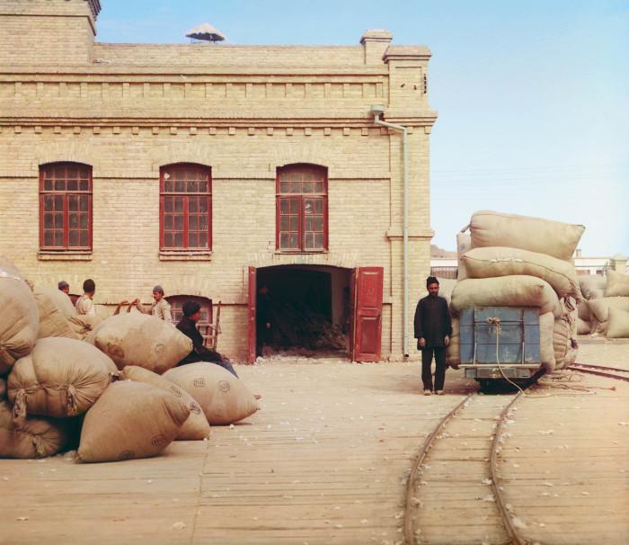 Поставка хлопка в хлопкоперерабатывающий завод в поместье Мургаб. Байрам-Али. Туркменистан, 1911 год.