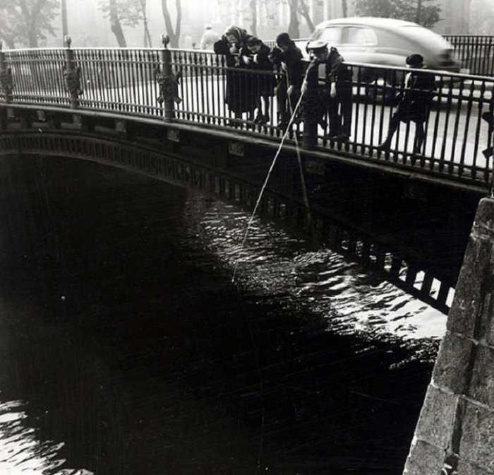 Рыбалка на канале Грибоедова, 1957 год.
