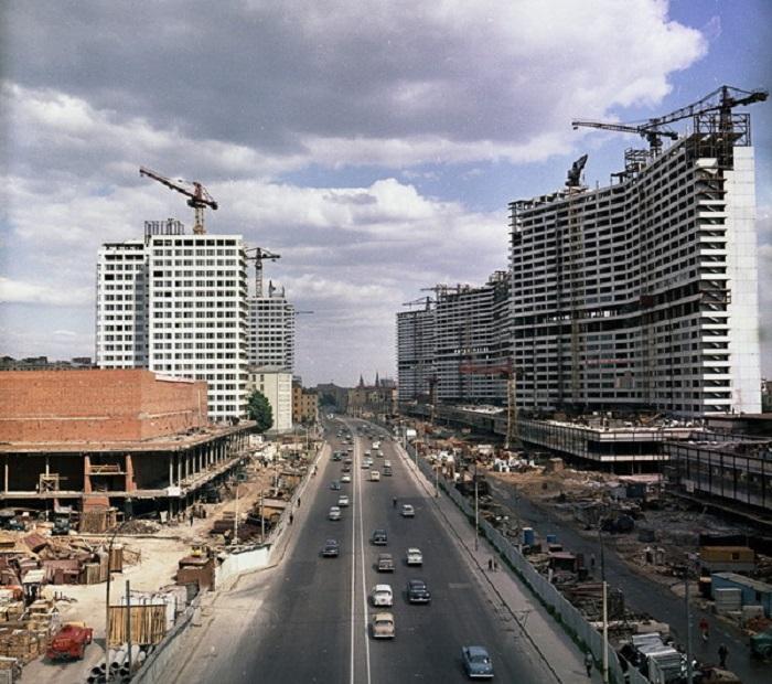Строительство нового квартала. СССР, 1965 год.