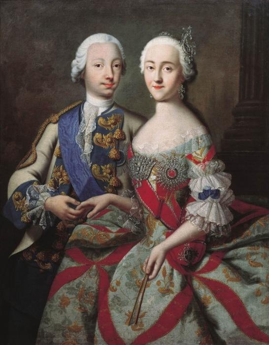 Портрет цесаревича Петра Федоровича и великой княгини Екатерины Алексеевны.