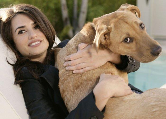 Пенелопа Крус и ее любимая собака.