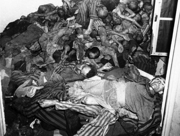 Мертвые тела лежат у стены крематория в немецком концентрационном лагере Дахау.
