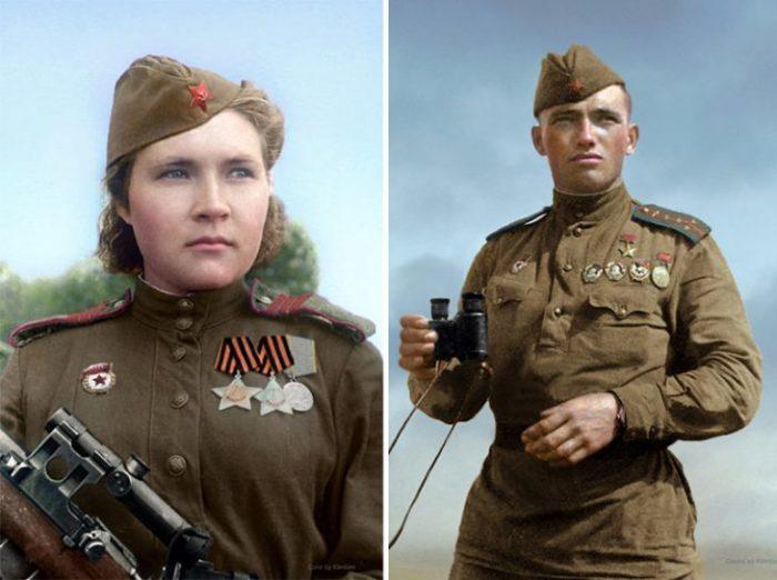 Советский снайпер Любовь Макарова и Герой Советского Союза Дмитрий Назаренко.