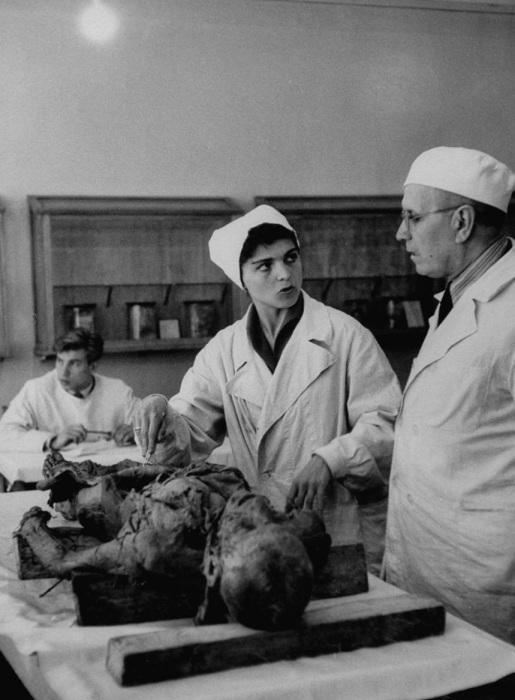 Урок анатомии в медицинском университете.  СССР, Москва, 1956 год.
