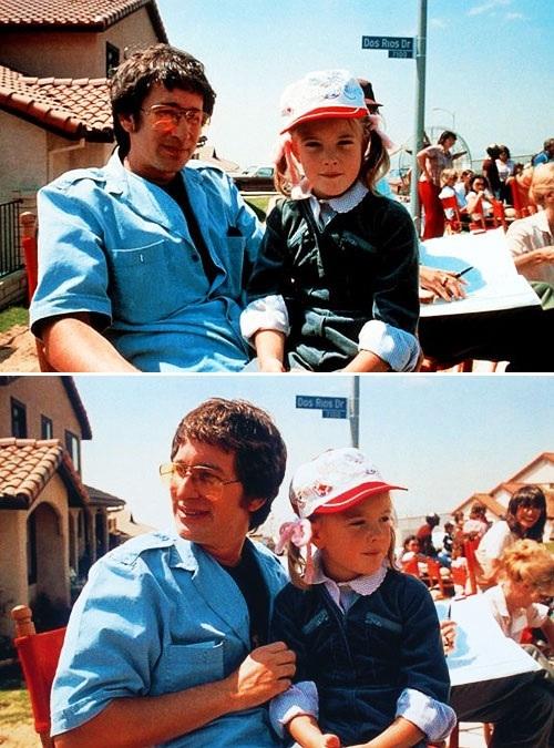 Стивен Спилберг и Дрю Берримор на съемках киноленты «Инопланетянин».