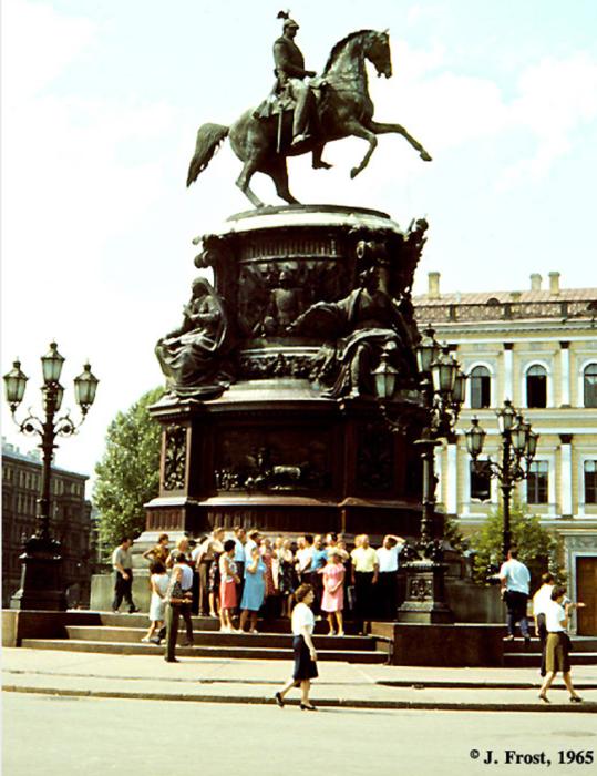Памятник Николаю I на Исаакиевской площади. СССР, Ленинград, 1965 год.