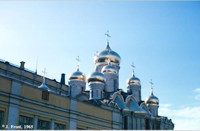 Купола собора Благовещения в Кремле. СССР, Москва, 1965 год.