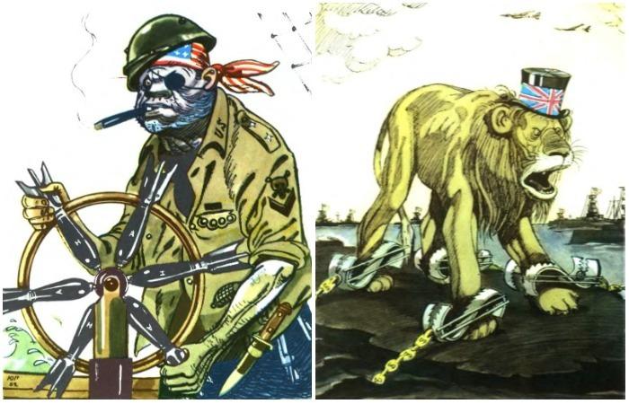 Сборник антиамериканских карикатур Юлия Ганфа, нарисованные в 1960-е годы.