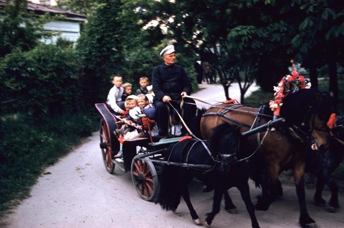 Дети, катающиеся на повозке. СССР, Харьков, 1959 год.