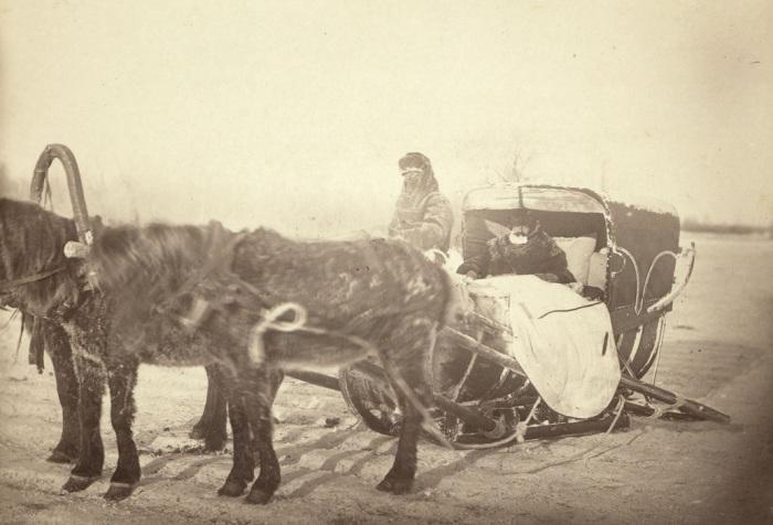 Сибирские сани в морозное утро.