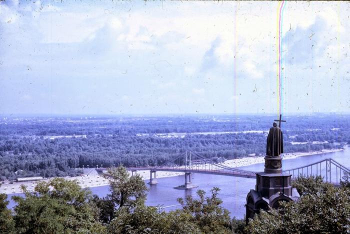 Панорама Днепра и памятник Владимиру Мономаху. Киев, 1968 год.