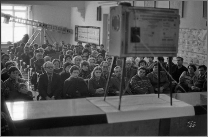 Прямая трансляция с похорон Генерального секретаря КПСС Юрия Андропова в актовом зале ЗСГУ. СССР, Новокузнецк, 1980-е годы.
