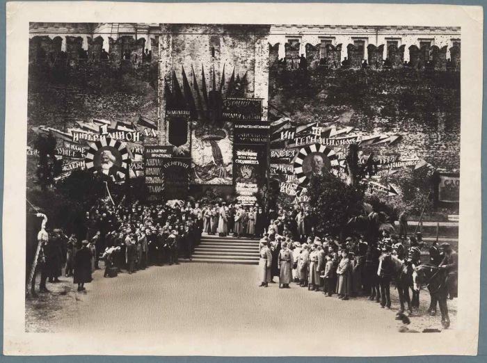 Демонстрации на Красной площади. СССР, Москва, 1918 год.