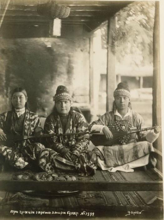 Три грации гарема эмира бухарского. Бухара, середина 19 века.