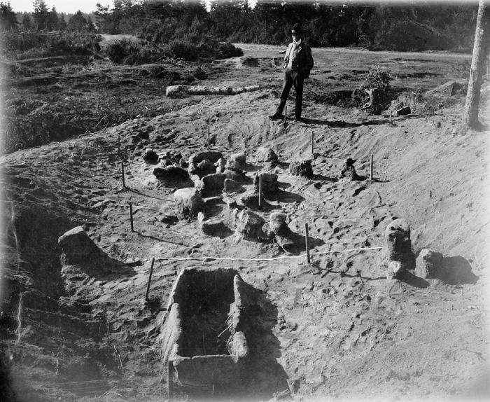 Археологические раскопки поселения каменного века в селе Лангбергсода на Аландских островах в Балтийском море.