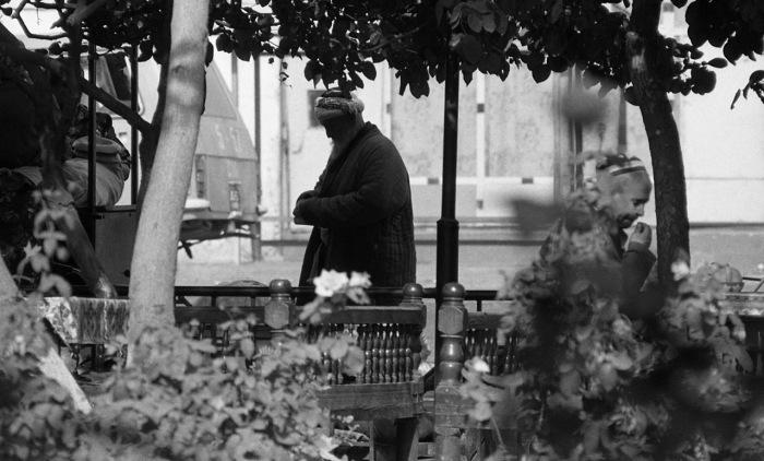 Пожилой мужчина на улице в беседке. СССР, Узбекистан, Самарканд, 1984 год.