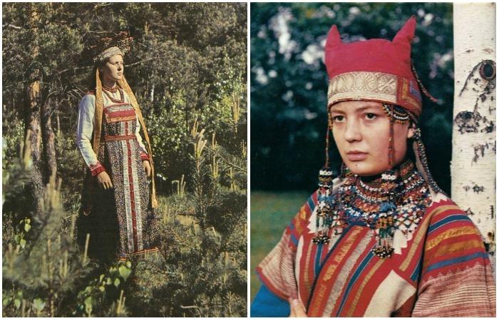 Фотографии русских красавиц в роскошных национальных костюмах.