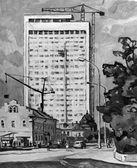Картина «Ульяновск. Лето 1969 года. Советская улица». Художник Георгий Васильевич Храпак. Репродукция, 1969 год.