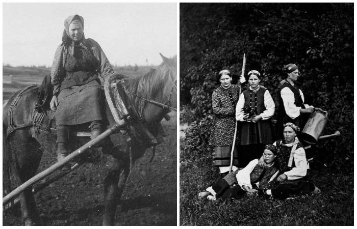 Портретные снимки русских женщин в праздничной и повседневной сельской одежде.