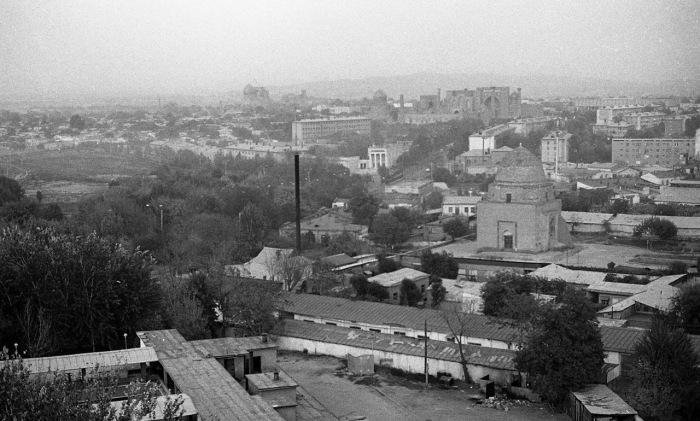 Панорама города. СССР, Узбекистан, Самарканд, 1984 год.