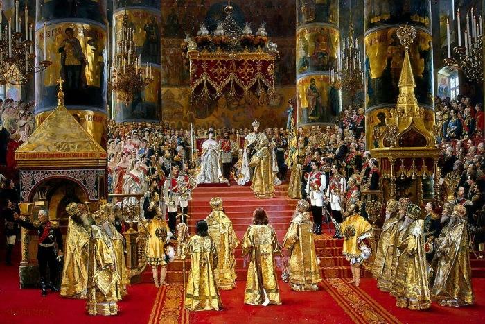 Коронация Александра III в Успенском соборе Московского Кремля в 1888 году.
