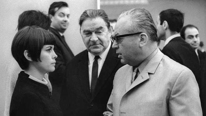 Мирей Матье, Леонид Утесов и Никита Богословский. 1967 год.