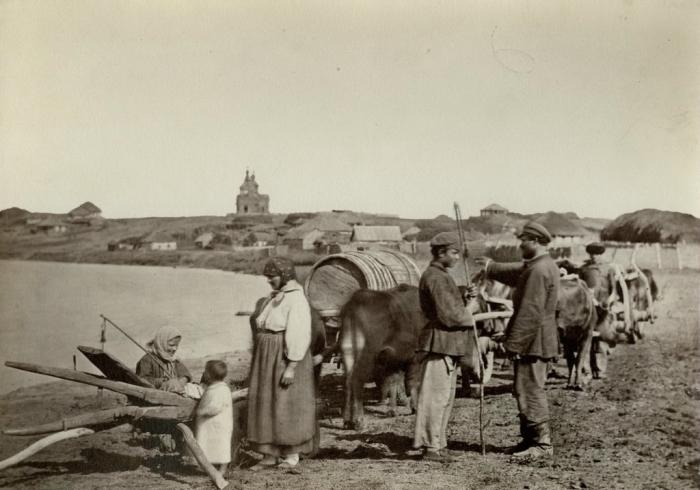 Местные жители. России, Цымлянская станица, 1876 год. Фото: Ivan Boldyrev.