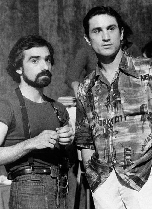 Мартин Скорсезе и Роберт Де Ниро в 1970-х годах.