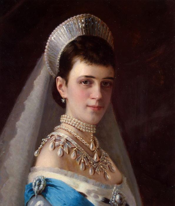 Портрет императрицы Марии Фёдоровны в жемчужном уборе.
