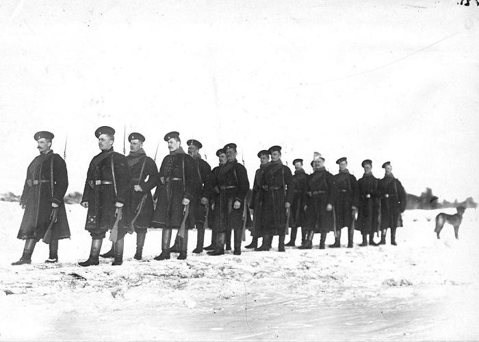 Отряд солдат лейб-гвардии Финляндского полка на учении в бригаде в 1908 году.