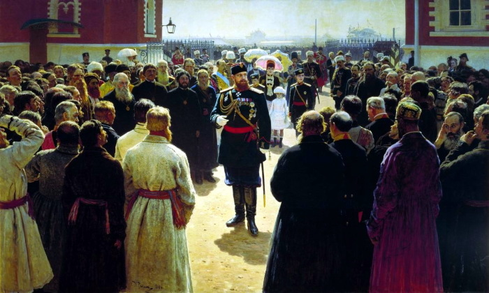Приём волостных старшин Александром III во дворе Петровского дворца в Москве.