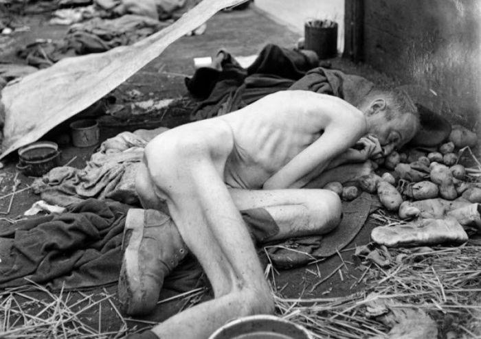 Мертвый заключенный в вагоне поезда близ концентрационного лагеря Дахау в мае 1945 года.