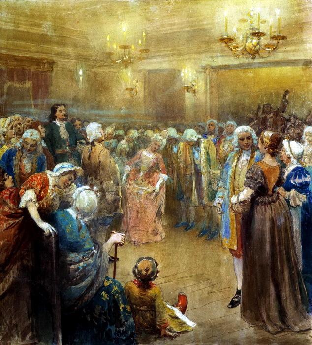 Ассамблея при дворе Петра I. Картина написана Клавдием Васильевичем Лебедевым.