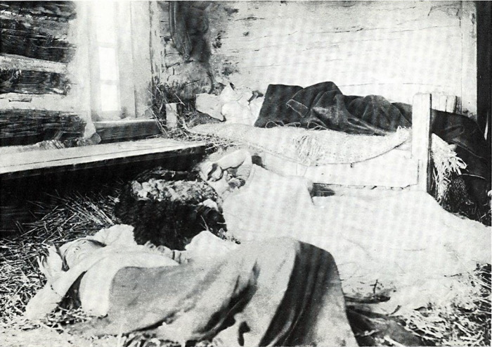 Семья крестьянина Мисанова, больная тифом.