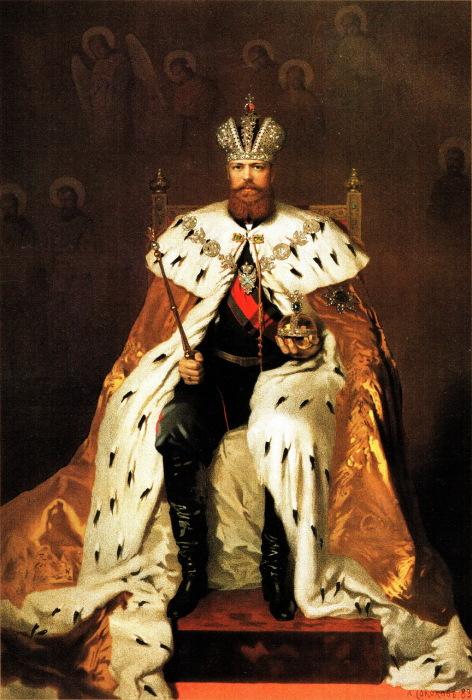 Государь император Александр III в коронационной одежде 15 мая 1883 года. Портрет создан Александром Петровичем Соколовым.