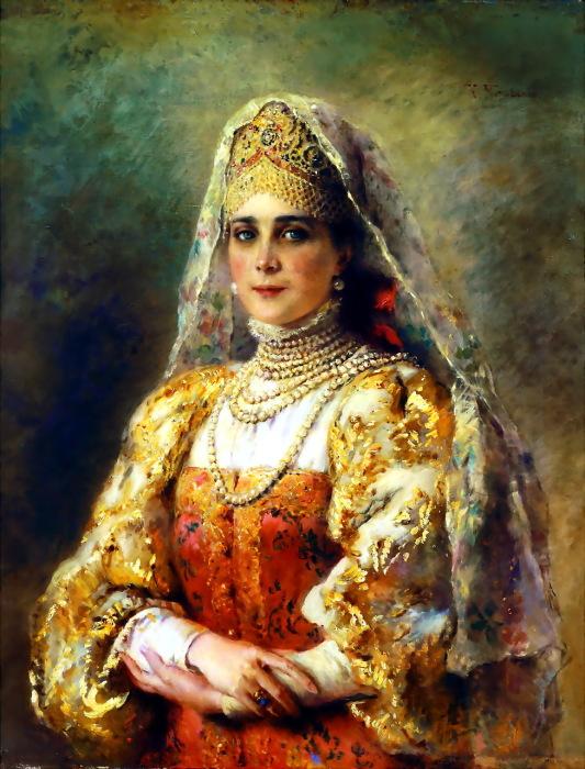 Портрет княгини Зинаиды Николаевны Юсуповой в русском костюме.