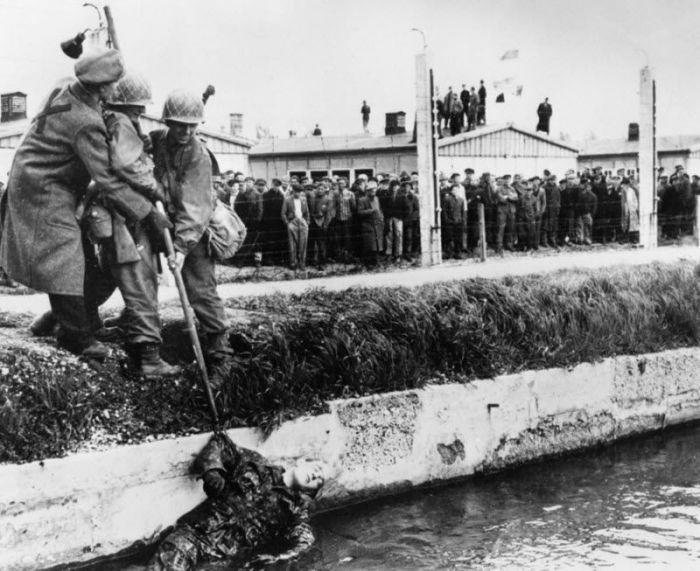 Когда американские войска освободили заключенных в лагере Дахау, сорок немецких охранников были убиты заключенными.
