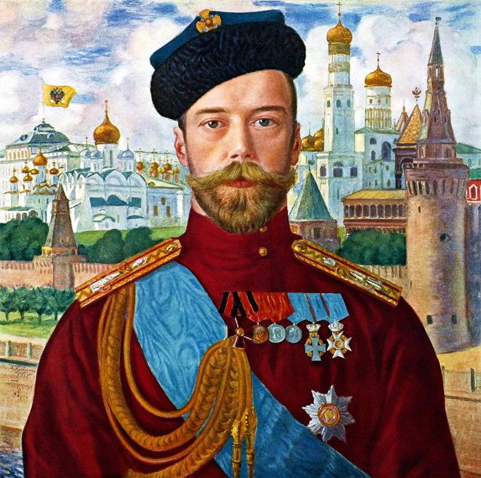 Портрет императора Всероссийского, Царя Польского и Великого Князя Финляндского, написанный художником Кустодиевым Борисом Михайловичем в 1915 году.