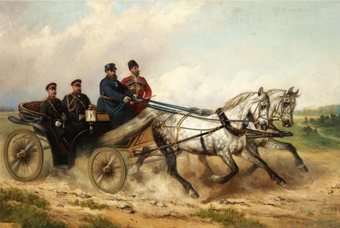 Царь Александр III и кайзер Вильгельм в открытом экипаже в 1888 году.