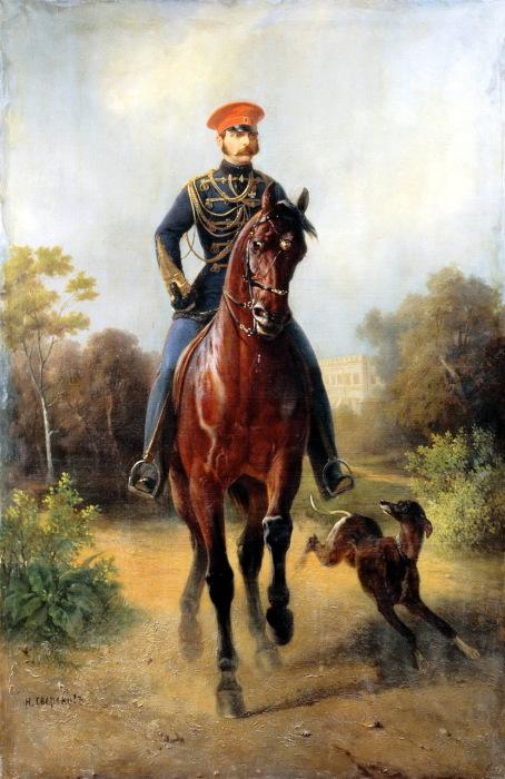 Император Всероссийский Александр II верхом на лошади.