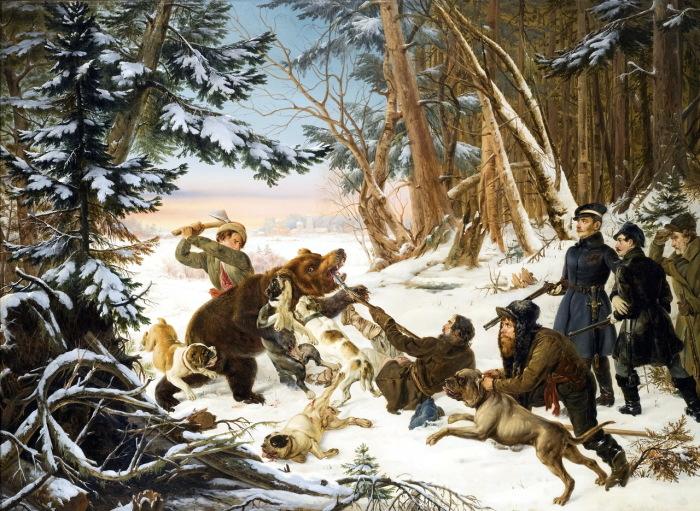 Царевич Александр Николаевич охотится на медведя на окраине Москвы.