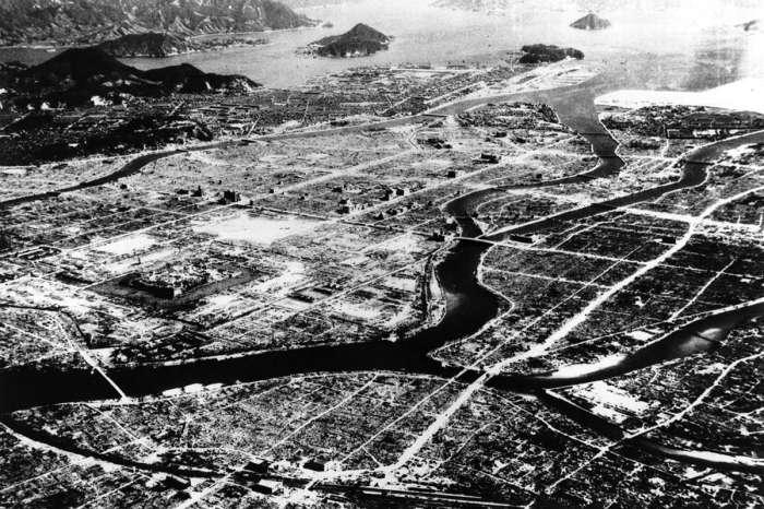 Аэрофотосъемка Хиросимы после взрыва атомной бомбы