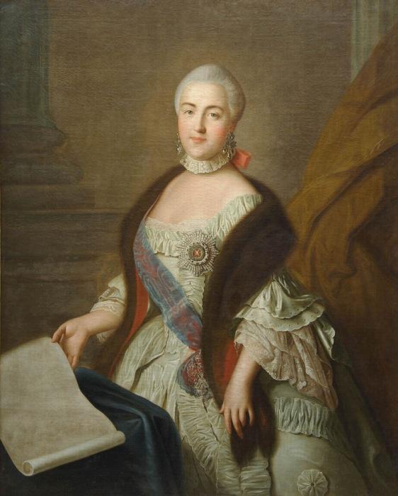 Портрет великой княгини Екатерины Алексеевны. Портрет создал Аргунов Иван Петрович.