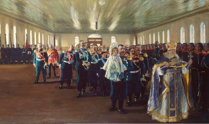 Церковный парад лейб-гвардии Финляндского полка 12 декабря 1905 года.