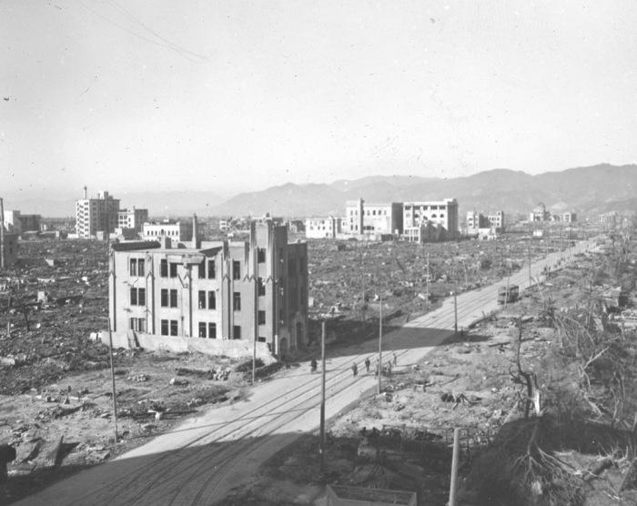 Вид на район Геиби в Хиросиме после атомной бомбардировки в 1945 году.