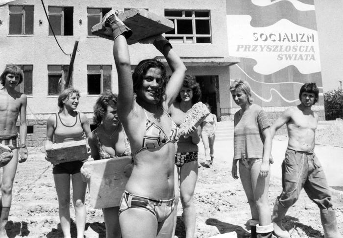На стройке. Польша, Гливице, 1976 год. Автор Ян Сухан.