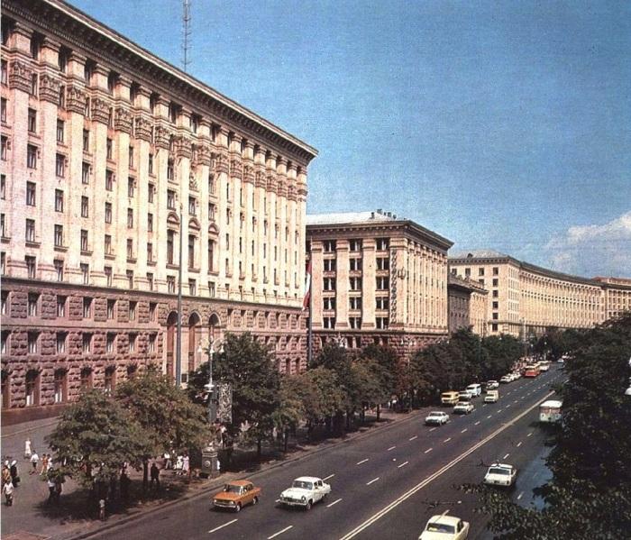 Главная улица Киева в 1987 году.