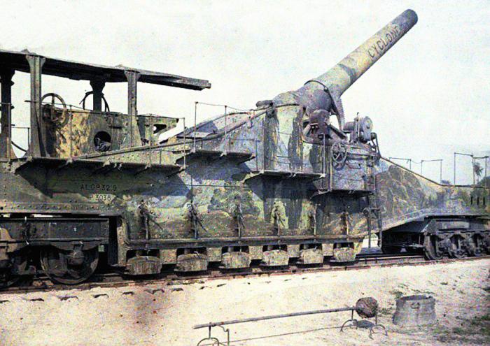 Мощное 320-мм дальнобойное орудие Cyclone в бельгийском городе Hogstade в 1917 году.