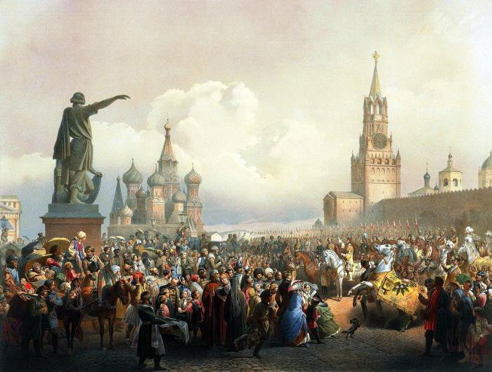 Красная площадь во время коронации Александра II в 1856 году.
